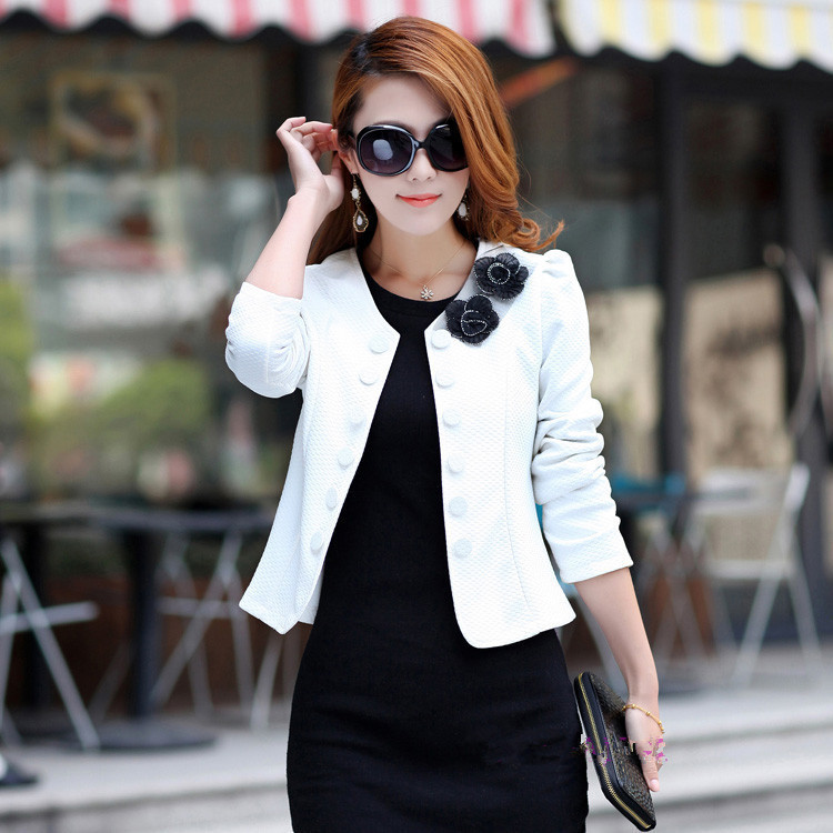 Blazer feminino 2015 New Spring O-Neck Double Breasted Blazer Women Red Slim Women Suit Jacket  Plus Size M-XXXL Blaser