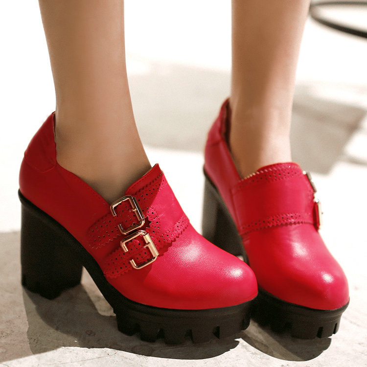 Big size 34-43 2015 Fashion Women Med High Heels Thick Heel Platform High Heels Pumps Shoes Spring Shoes Casual Dress Shoes
