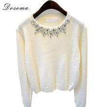 2015 Korean Autumn Winter Brand Design Simple Beading O-neck Long Sleeve Knitted Sweaters Women Elegant Casual Pullover Knitwear(China (Mainland))