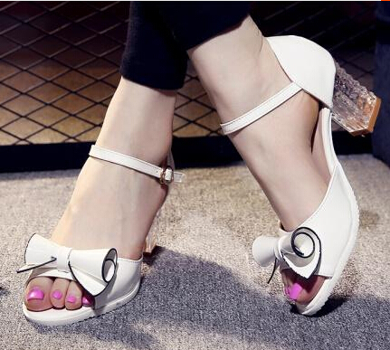 2015 New fashion open toe bow button belt sandals thick heel fashion women's shoes(China (Mainland))