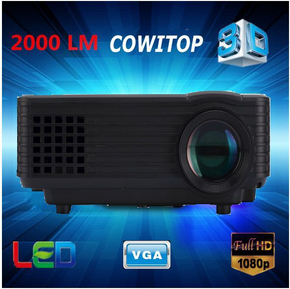 Full HD 2000lumens Projector,1920 x 1080 LED LCD 3D Home theater LED Proyector 50000hrs Support USB PC smart phone laptop tablet(China (Mainland))