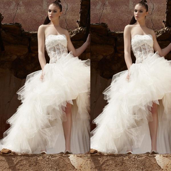 Romantic White Wedding Dress with Train Flower Backless Asymmetric Wedding Dresses Robe Mariage 2015 Vestido De Noiva H742(China (Mainland))