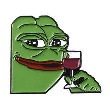 קריקטורה קרמיט Pepe אוסף עצוב צפרדע חשיבה Dringking meme פין חזרה תגי סיכות מרגיש רע איש מרגיש אדם טוב(China)
