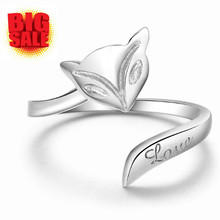 2016 Hot Sale Pure 925 Sterling Silver Wrap Adjustable Women Ring Jewelry Animal Rings Sample Best Friend Girlfriend funny Gift