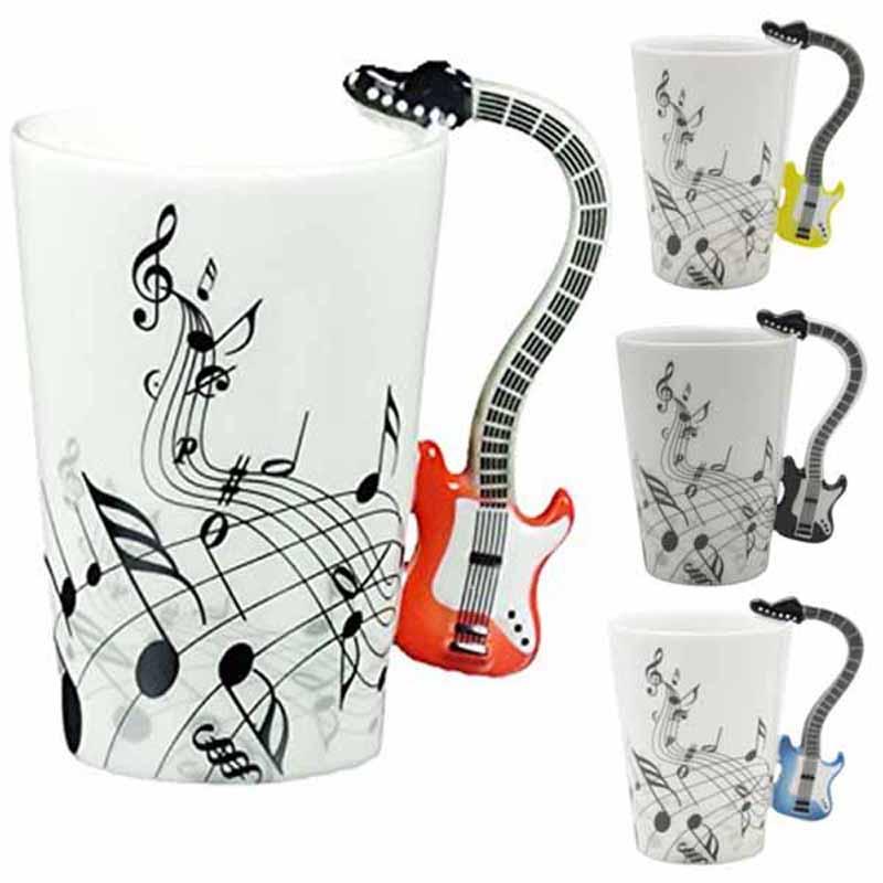 High Quality coffee mug cup Creative Guitar Music Violin Style Mug Ceramic Mug Coffee Tea Milk Stave Drinkware Cup novelty gift(China (Mainland))