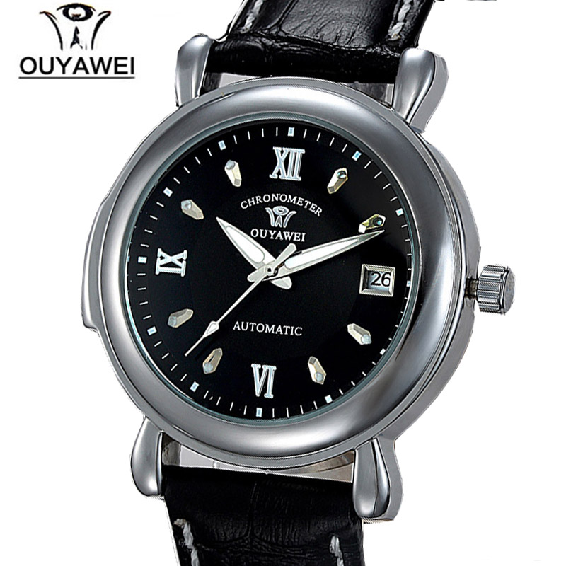 Automatic Self-Wind Wrist Watches with Genuine Leaather Strap Brand OUYAWEI 1119 Mens  Fashion Mens Autodate Watch Relogio Males<br><br>Aliexpress