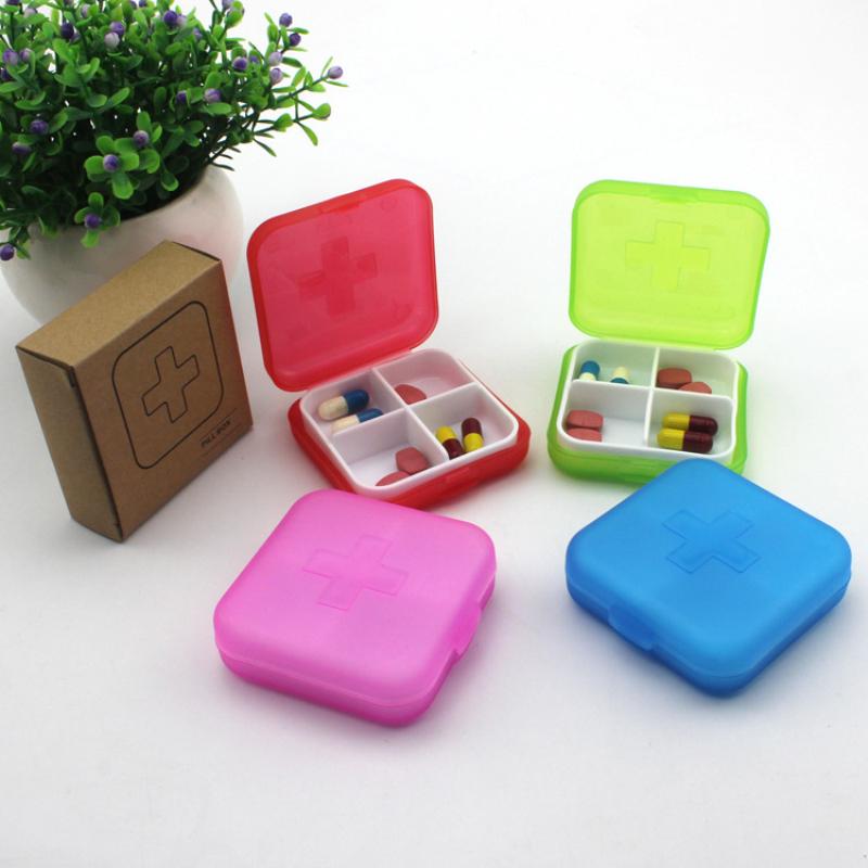 New Portable 4 Slots seal folding Pill Cases Jewelry candy box Storage Box Vitamin Medicine Pill Box Storage Case Containe(China (Mainland))