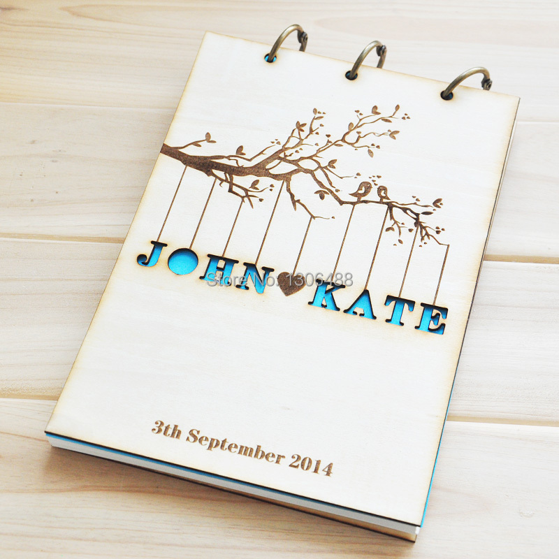 Personalised Wedding Gift Cheap : Rustic wedding guestbook album,Custom wood engagement anniversary gift ...