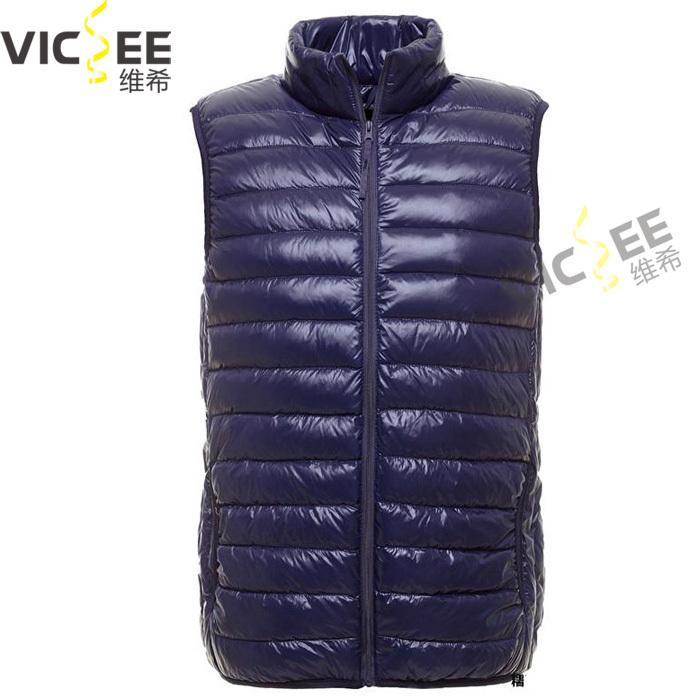 Ultra light winter vest white duck jacket men stand collar sleeveless casual men's parka S XXXL - VICSEE International Apparel Ltd store
