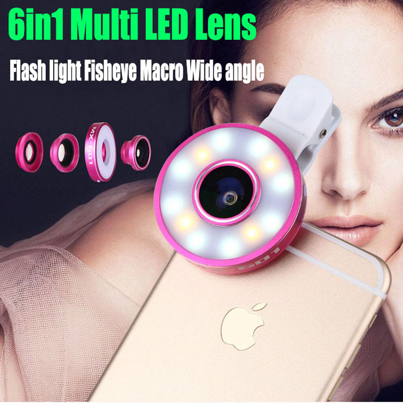 6in1 Multi LED Lens For iPhone 5 6 plus 6S Samsung Smart Phones Clip-on Flash light Fisheye Macro Wide angle Camera Lens LS1(China (Mainland))
