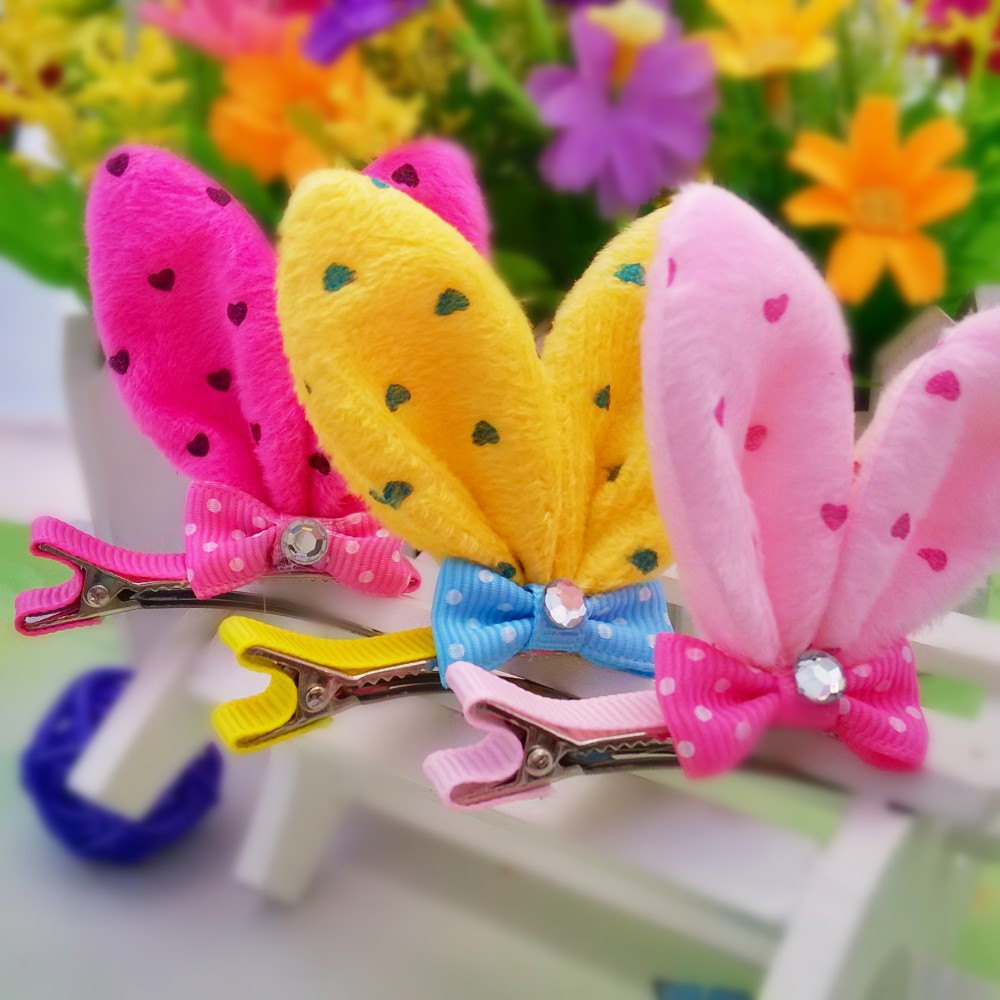1 PC Cute Novelty High Quality Rabbit Ears With Resin Diamond And Bow Children Accessories Gift Hair Accessories Girls Hair Clip(China (Mainland))