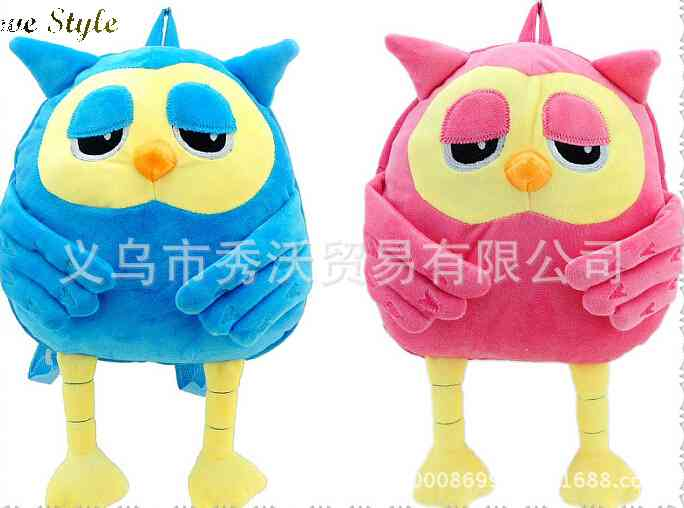 Free Shipping new canvas double plush cartoon childrens backpack bag best selling 048 1435660515(China (Mainland))