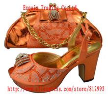 New design and hot-selling italy matching shoe and bag set with full shinning stones BCH-05 38-42