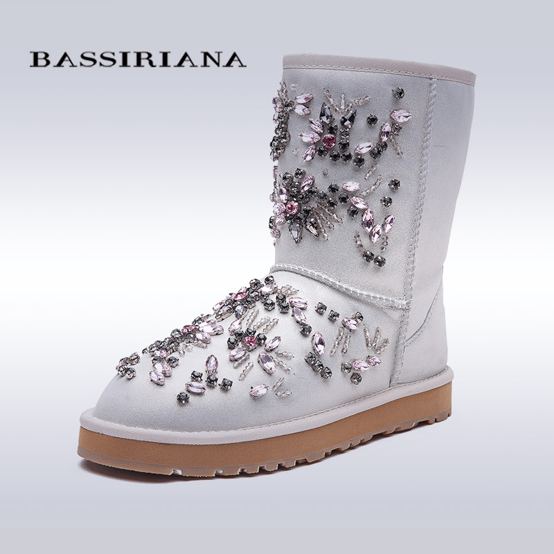 BASSIRIANA New 2017 Black White Ankle Boots For Women Metal Decoration Fashion ladies Sexy Boots Winter Shoes Platform Boots(China (Mainland))