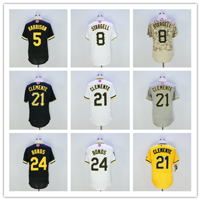 2016 Pittsburgh 5 Josh Harrison Jersey 8 Willie Stargell 21 Roberto Clemente 24 Barry Bonds Jersey New Arrivals Baseball Jersey(China (Mainland))