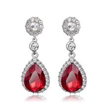Buy Li & Fang Red Water Drop Earrings Rhinestone Crystal Fashion Jewelry Elegant Simple Ethnic Gem Joker Cute Drop Earrings Women for $1.90 in AliExpress store