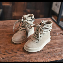 Kanye the same style season 2 Children Girls&Boys Unisex Casual Breathable Lace Up High-top Flat Walking Kids Boots yeezy Shoes(China (Mainland))