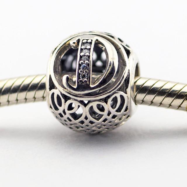 Серебро 925 2016 весной ювелирные изделия буква D бусины подходит браслет европейский алфавит натуральный камень бусины для ювелирных изделий