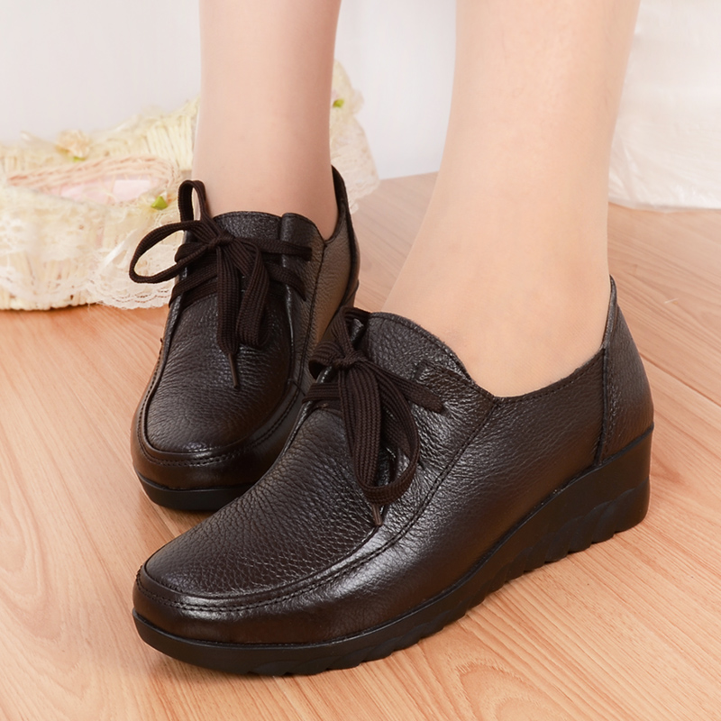New 2015 spring and autumn women sneaker all match genuine leather flats black+brown lacing comfortable womens single shoes<br><br>Aliexpress