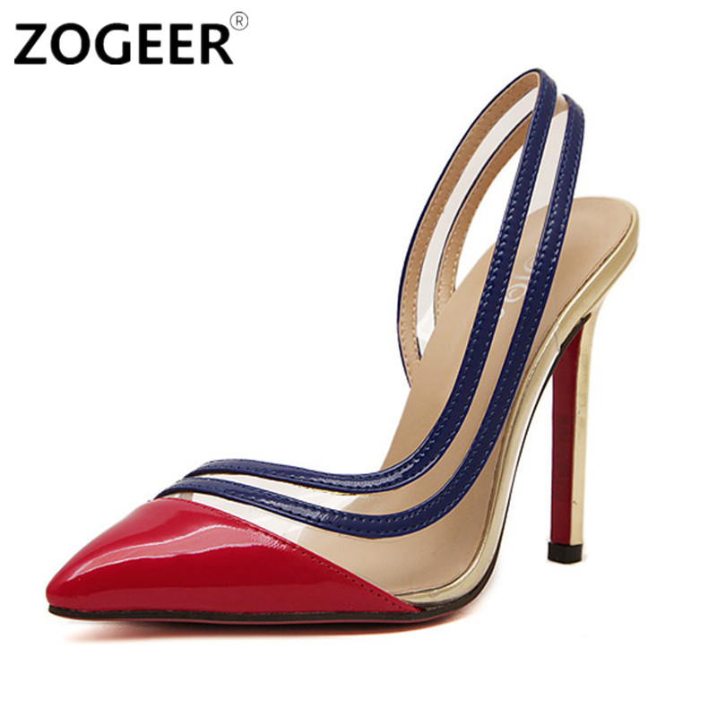 Women Pumps Fashion Sexy High Heels Shoes Woman Pointed Toe Thin Heel Transparent Red Gold Ladies Wedding Shoes(China (Mainland))