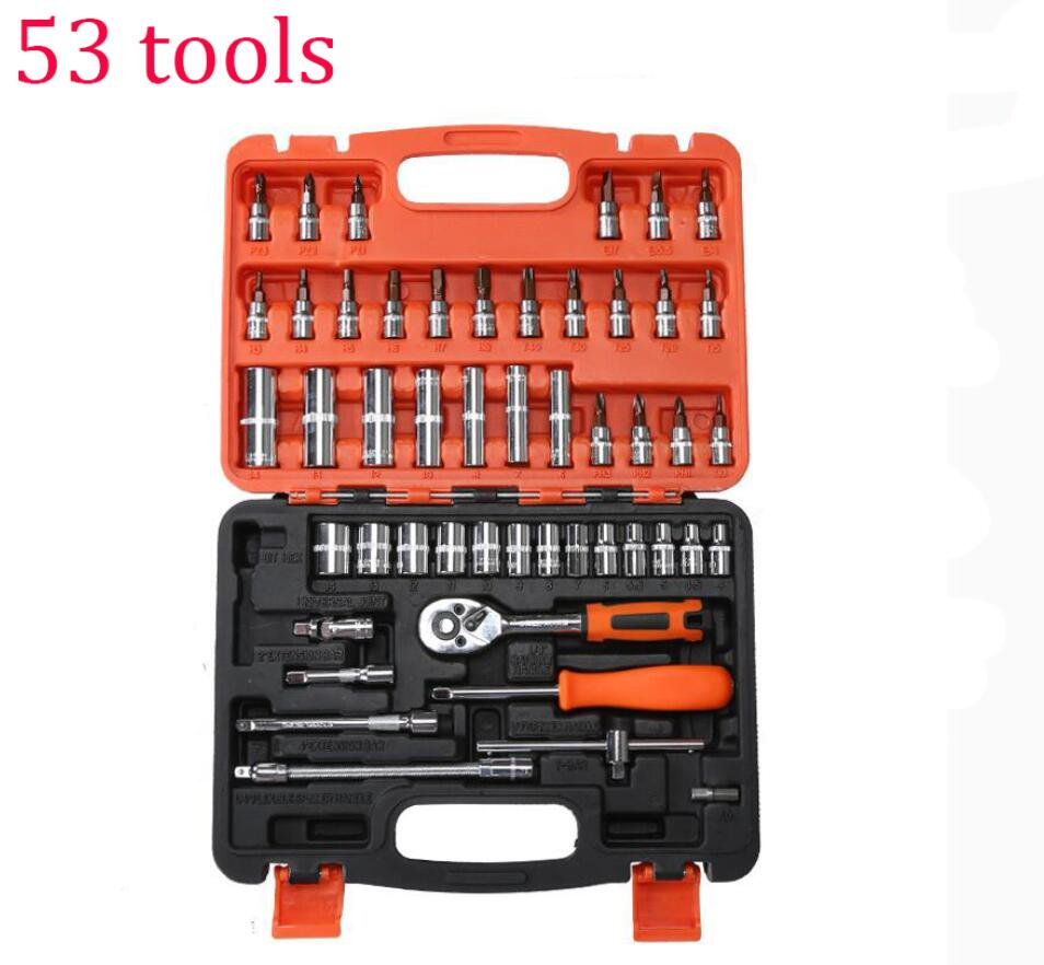 53 tools set Car Fix tools Multifunction Household home use hand tools Combination repair Box Sleeve wrench(China (Mainland))