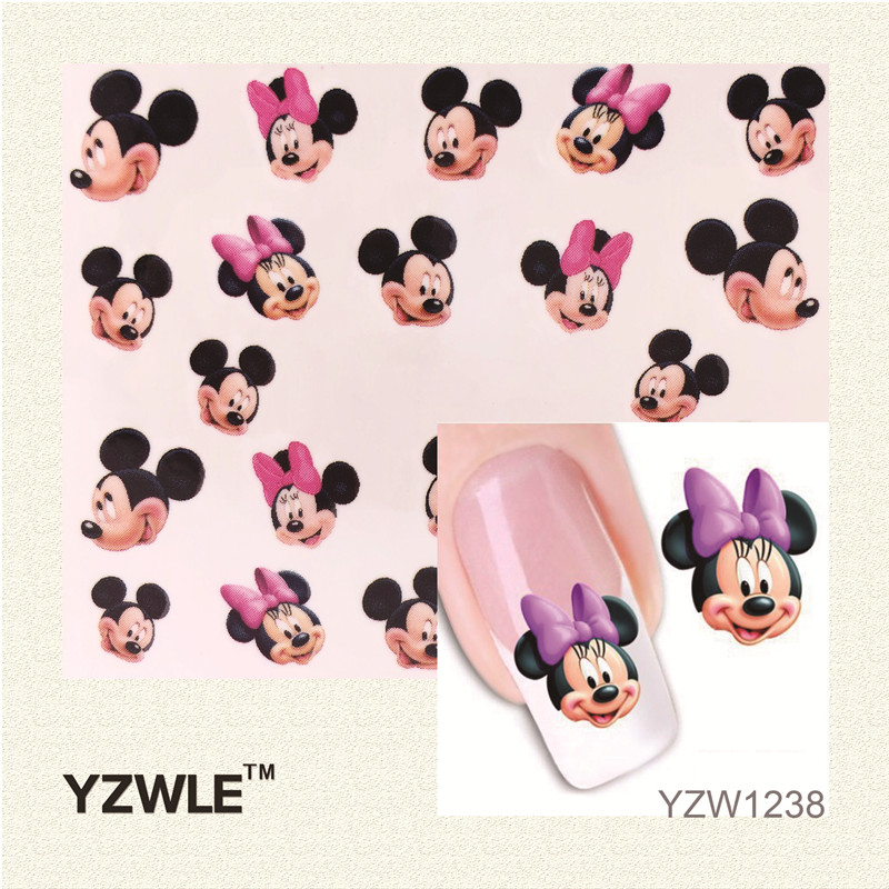 YZWLE 1 Sheet New Watermark Water Transfer Nail Stickers Lovely Mouse Girl, Watermark Nail Decals Manicure Tools(China (Mainland))