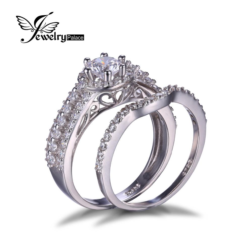 buy anniversary cz engagement wedding ring set 925 sterling silver bridal band. Black Bedroom Furniture Sets. Home Design Ideas