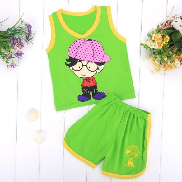 Hot Sell Boy Summer Baby Girl Boy Clothing Clothing Set Sleeveless Cotton Shirt+Short Pants Children infant Boy Clothes Set 50(China (Mainland))