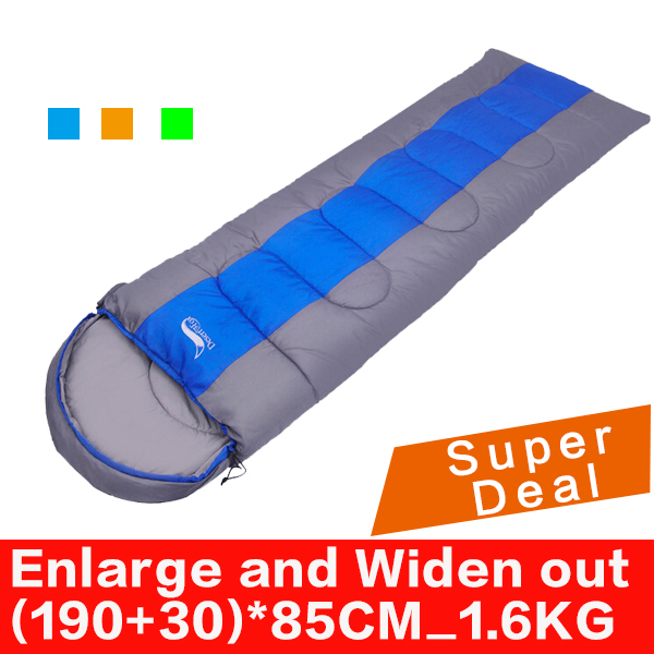 Enlarge Widen out Spring and Autumn Compression Cotton Envelope Style Outdoor Hiking Camping Sleeping Bag 1.6KG (190+30)*85CM(China (Mainland))