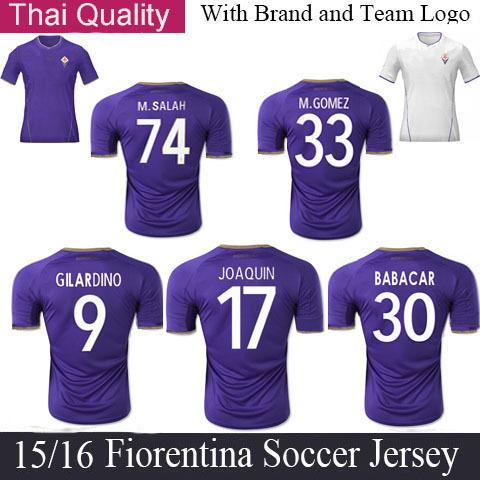 Fiorentina Jersey 2015 Home Purple 15 16 Fiorentina Soccer Jersey Mario Gomez Football Jerseys JOAQUIN Jersey MOHAMED SALAH(China (Mainland))
