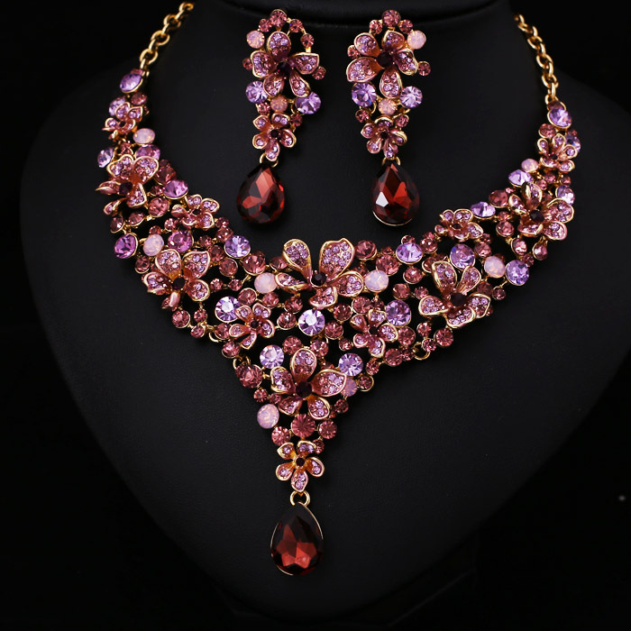 hot sale women light pink crystal rhinestone bridal