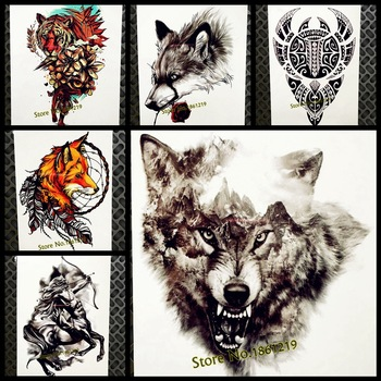 Black Mountain Wolf Temporary Tattoo Stickers Men Waterproof Tattoo Hill Forest Wolf Totem Body Art ARm Tatoo Women Legs Chest
