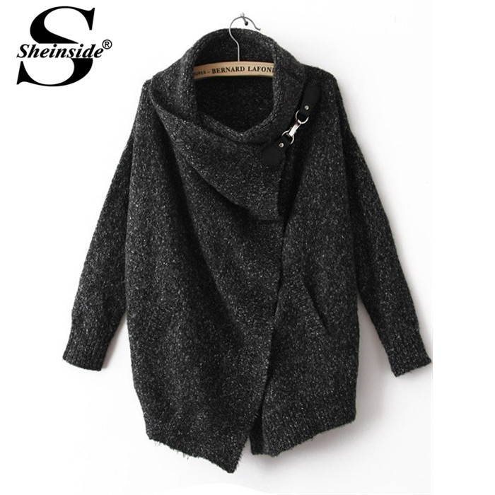 Sheinside Women Casual Knitwear Knitted Wnter/Autumn Brand Elegant Vintage Fashion Black Lapel Long Sleeve Ouch Cardigan Sweater(China (Mainland))