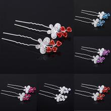 Fashion Charm Flower Butterfly Hairpin Colorful Rhinestone Hair Stick hair accessories bride flower hair jewelry New Arrival