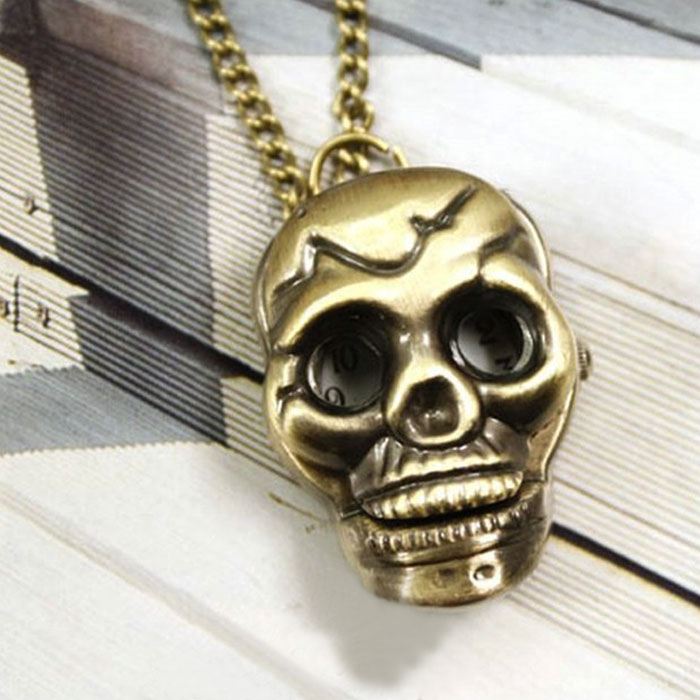 SmileOMG Fashion Casual New New Fashion Retro Skull Bronze Necklace Chain Pocket Watch Necklace Chain Gift Free Shipping,Oct 13