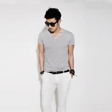 春夏新作ファッション男性 Tシャツスリムフィットコットン V ネックマン半袖シャツカジュアル Tシャツトップスホット男性 blusas(China)