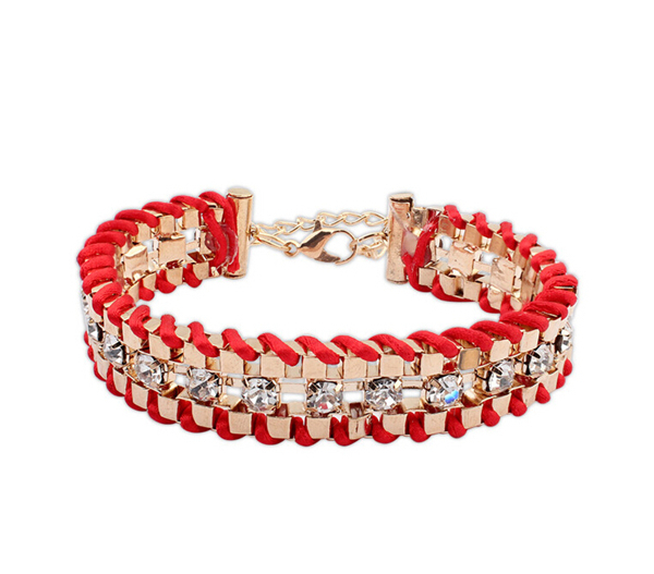 European American Wild Fashion Ethnic Style Handmade Woven Bracelet Friendship Bracelet Rhinestone BS156(China (Mainland))