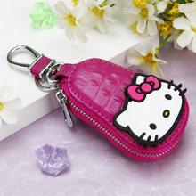 Moda Olá Kitty Keychain Saco Chave do Carro Do Couro de couro Com Zíper Bolsa Saco Bolsa Llavero Chave Charme Anel KT Da Menina de Flor corrente chave(China)