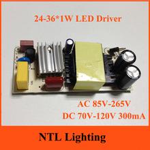 NEW 24-36*1W LED Driver 24w 25W 27W 30W 32W 35W 36W lamp light transformer DC 70V-120V 300mA bulb lights power supply Freeship(China (Mainland))