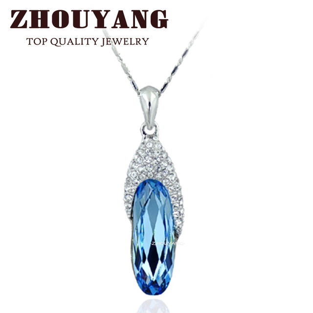 Top Quality ZYN066 Blue Gem Shoes Necklace 18K White Gold Plated Fashion Jewellery Nickel Free Pendant Crystal