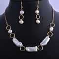 Baroque natural freshwater pearl necklace earring set