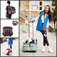 Pet Carriers Wheel Stroller Travel Airline Luggage Backpack Carrier Cute Cart Trolley Multifunction Sliding Bag 3 Colors(China (Mainland))