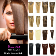 7 Colors Human Hair Clip In Extensions 8 Pcs Clip In Hair Extensions 16 To 26 Inch  Straight Human Hair Clip Ins