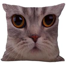 3d Animal Face Cute Cat Dog Cotton Linen Throw Pillow Cushion Cover