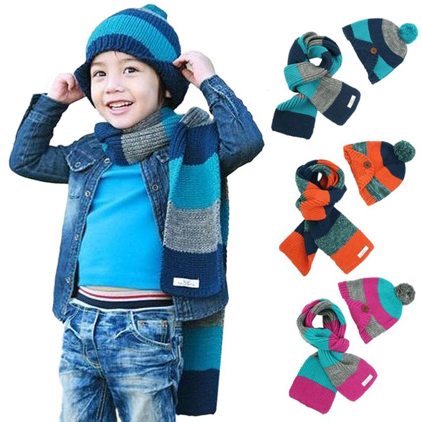 Lovely Bear Warm Hat and Scarf Set Baby Boys And Girls Winter Knitted Crochet Soft Hats Bibs Fashion Beanie All For Children(China (Mainland))