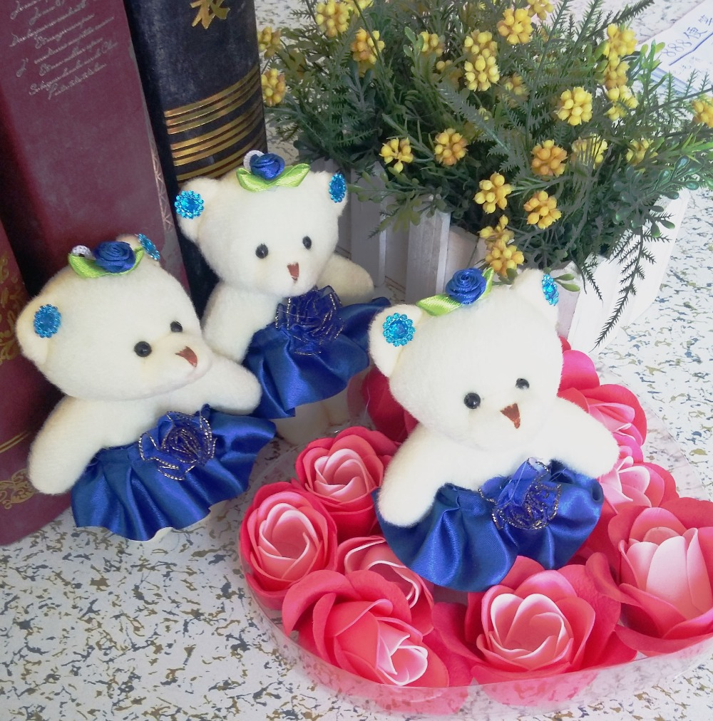 Wholesale and Retail Promotional gift plush toys lovely teddy bear Valentine's day gifts with stripe ribbon 10cm mobile charm(China (Mainland))