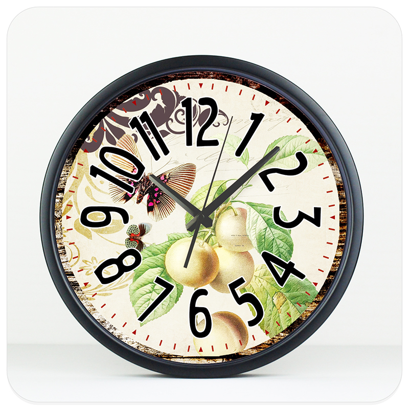 14'' large size dining room decoration wall clock metal cover 8 color home wall watch modern silent living room decor wall clock(China (Mainland))