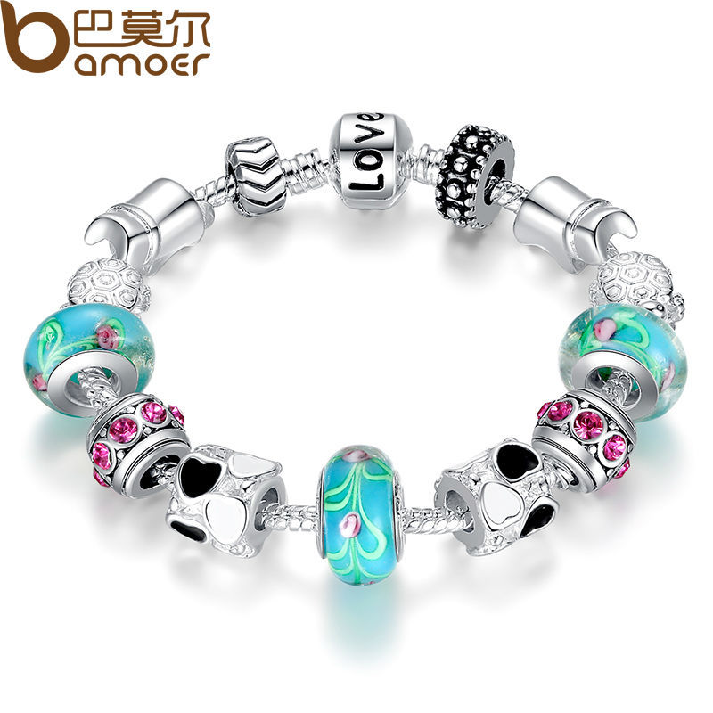 Fashion 925 Sterling Silver European Charm Bracelet With Love Beads Fit Pandora Bracelets SDP1019(China (Mainland))