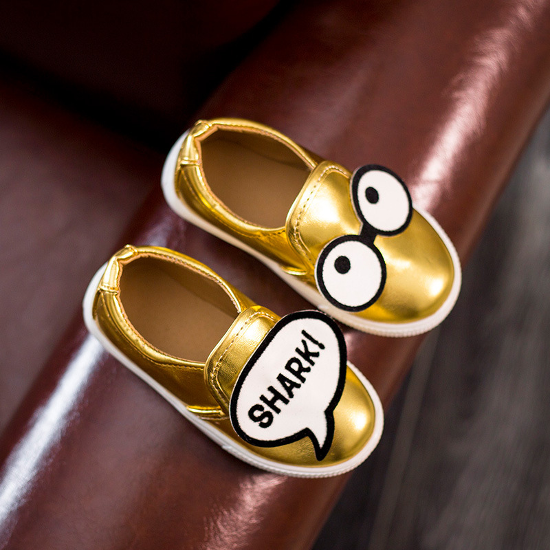 Super Cute Shoes Kids Cartoon Decoration Girls Boys Color Black Gold PinK Child Shoe (Fit Baby Teenage) - Running store