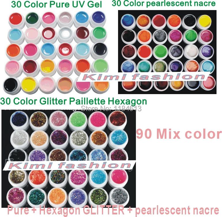 90 Mix color uv gel, Pure +Glitter Paillette Hexagon + pearlescent nacre colors nail art polish tools set Solid Builder